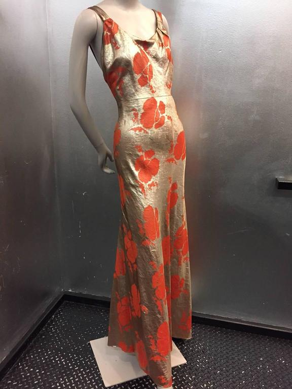 1930s Germaine Monteil Gold and Persimmon Floral Silk Lamé Evening ...