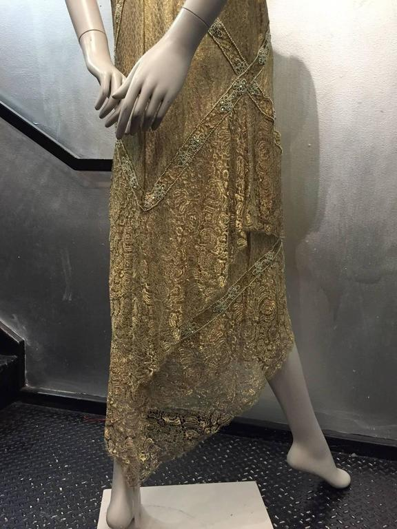 1920s Thurn Gold Lam 233 Lace Evening Dress And Ostrich