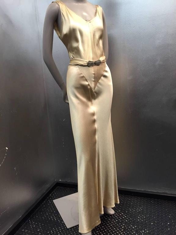 1930s Spectacular Champagne Gold Hammered Silk Satin Gown w Plunging ...