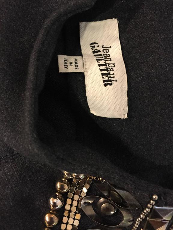 Jean Paul Gaultier Gray Flannel Cocktail Dress w/ Studded Zipper Shoulders  For Sale 3