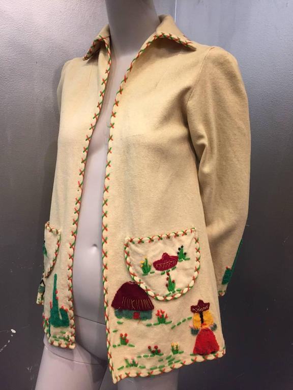 1940s Wool Felt Mexico Souvenir Jacket W Felt Applique At