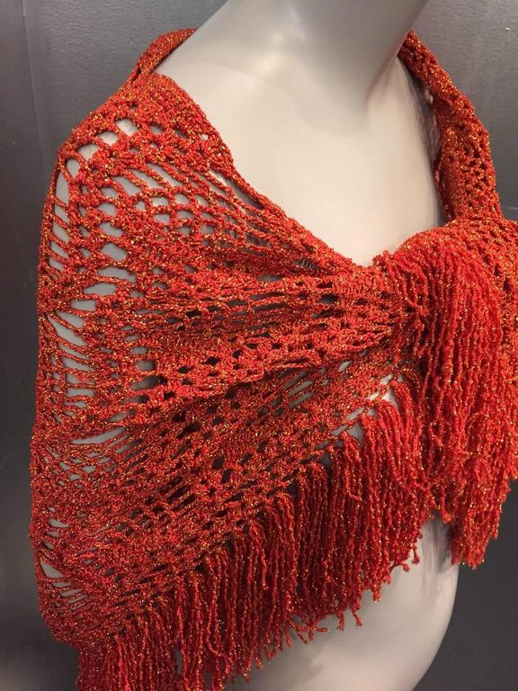Women's 1970s Copper Yarn and Gold Lurex Fringed Crochet Shawl For Sale