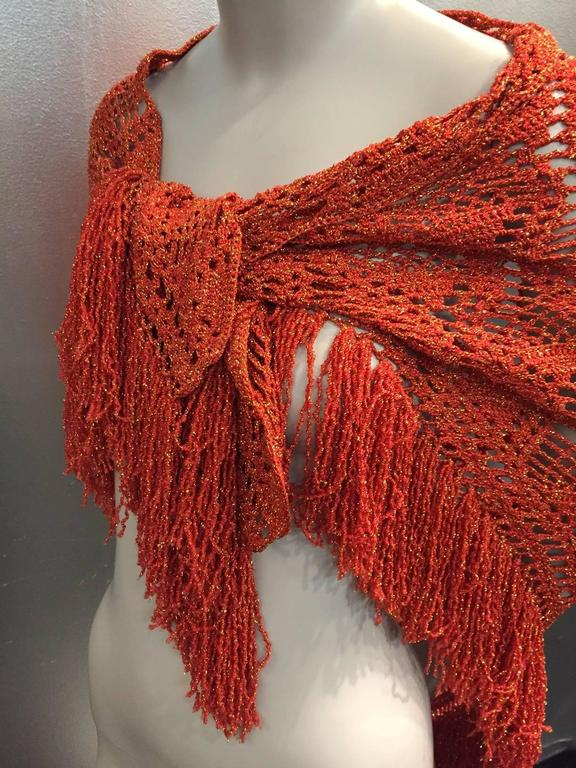 1970s copper rayon yarn and gold lurex crocheted and fringed shawl from Mexico