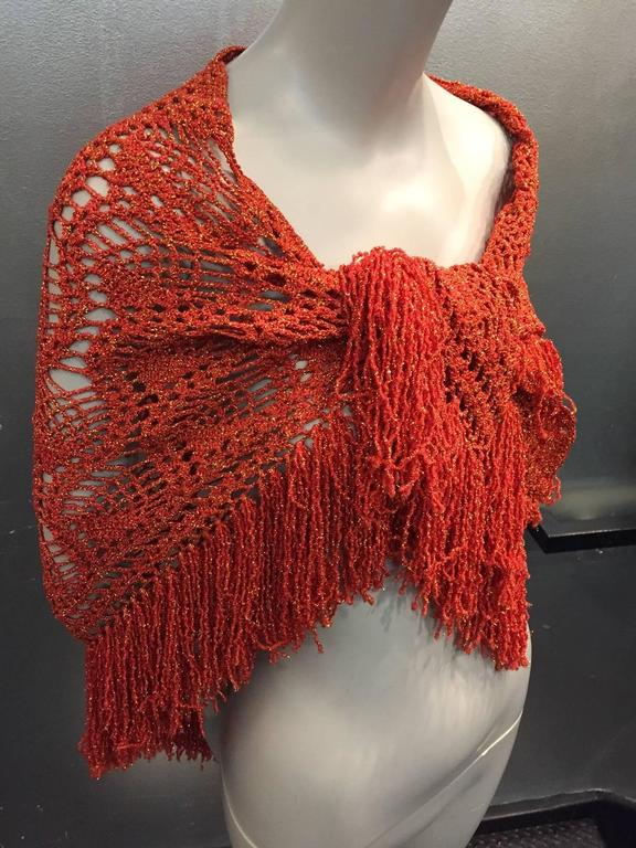 1970s Copper Yarn and Gold Lurex Fringed Crochet Shawl In Excellent Condition For Sale In San Francisco, CA