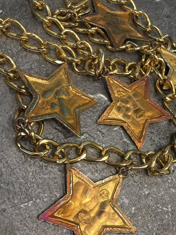 Escada 1980s Dramatic Black Enameled Star and Chain Necklace or Belt 3