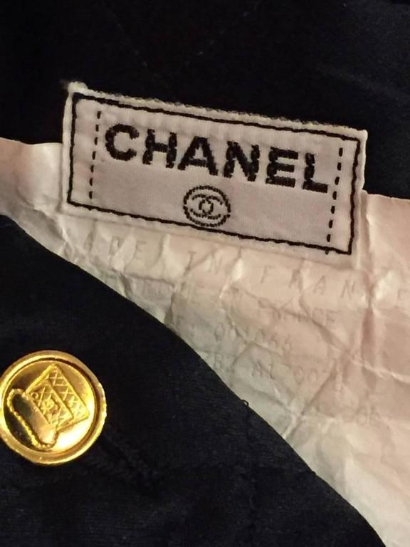 "1980s Chanel Quilted Silk Satin Full Skirt with ""Handbag"" Buttons For Sale 2"