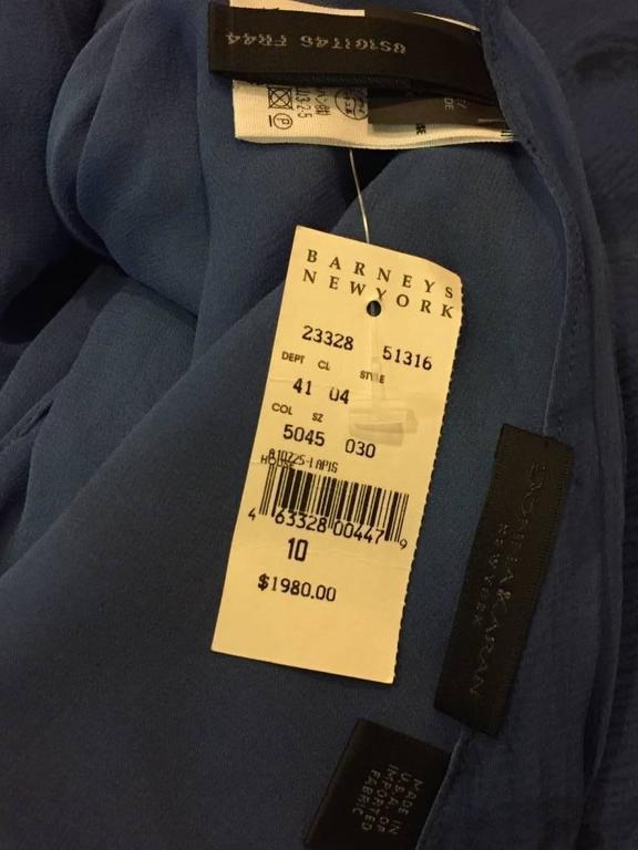 Donna Karan Cobalt and Royal Blue Silk Chiffon Slip Dress For Sale 6