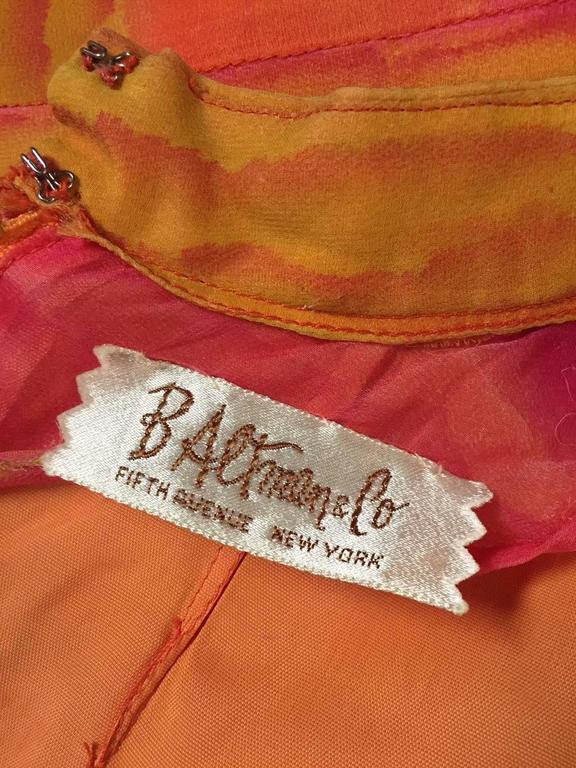 1960s Vibrant Stripe Silk Chiffon Tunic Dress in Orange, Gold and Fuchsia For Sale 1
