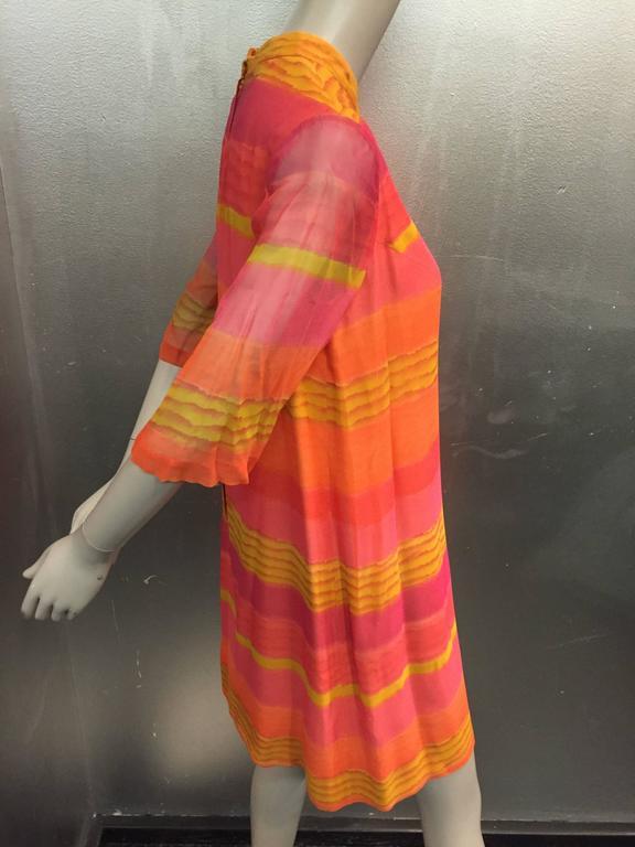 1960s Vibrant Stripe Silk Chiffon Tunic Dress in Orange, Gold and Fuchsia In Excellent Condition For Sale In San Francisco, CA