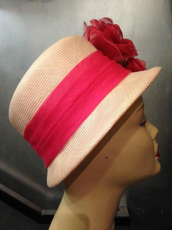 1960s Cathay Pale Pink Straw Flower Pot Hat w Extravagant Roses 3