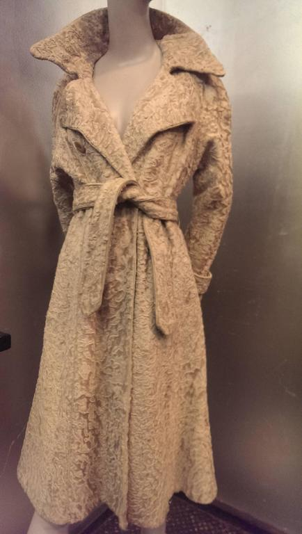 1960s Montaldo S Blonde Astrakan Broadtail Trench Coat W