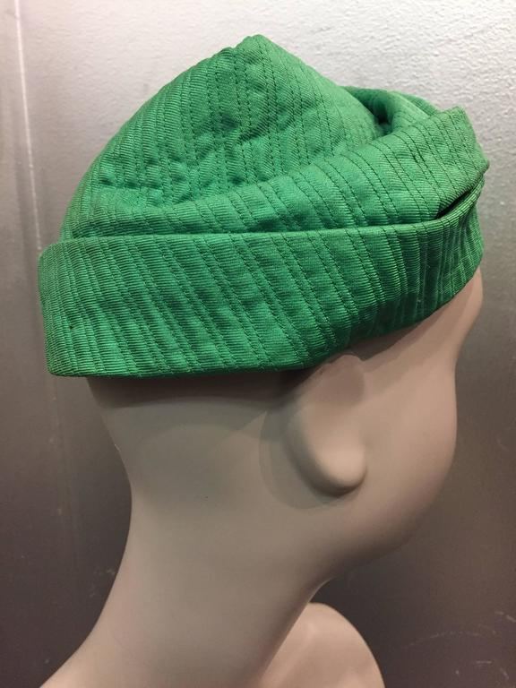 1960s Mr. John Kelly Green Quilted Turban Hat 5