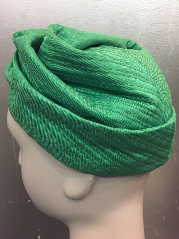 1960s Mr. John Kelly Green Quilted Turban Hat 4
