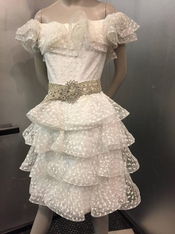 1980s Scaasi Tiered Ruffled Pointe D'Esprit Tulle Cocktail Dress  6