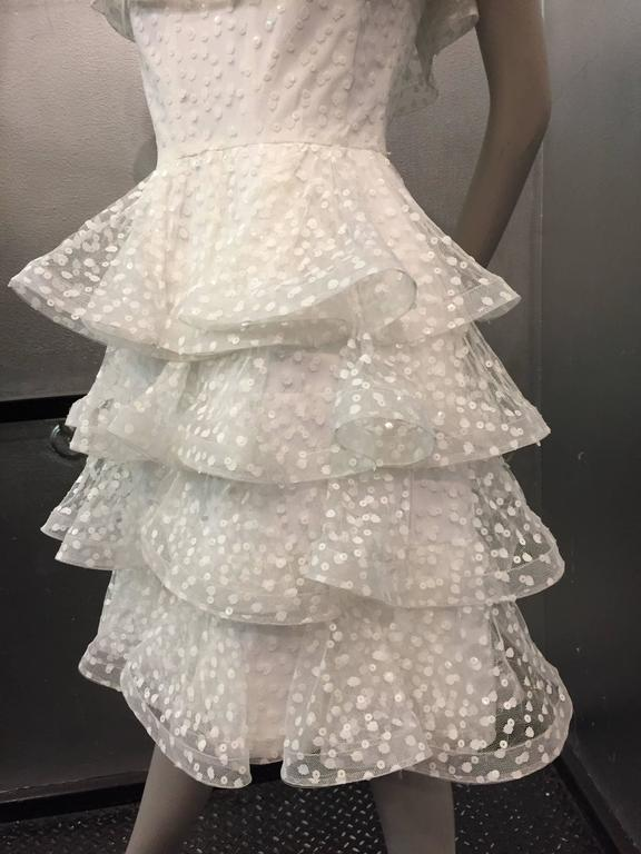 1980s Scaasi Tiered Ruffled Pointe D'Esprit Tulle Cocktail Dress  2