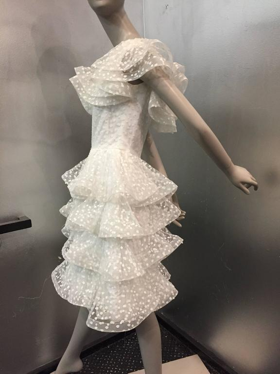 1980s Scaasi Tiered Ruffled Pointe D'Esprit Tulle Cocktail Dress  5