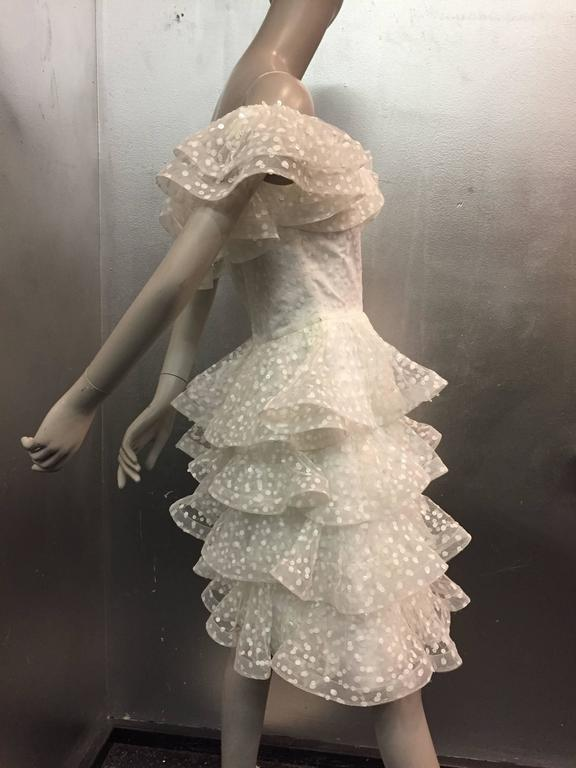 1980s Scaasi Tiered Ruffled Pointe D'Esprit Tulle Cocktail Dress  4