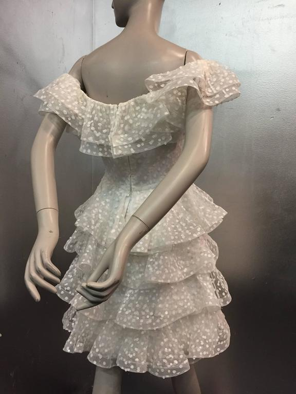 1980s Scaasi Tiered Ruffled Pointe D'Esprit Tulle Cocktail Dress  3