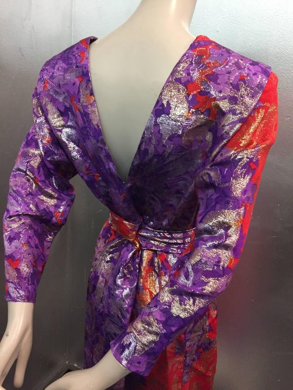 1980s Yves Saint Laurent Purple, Red and Gold Floral Brocade Gown 5