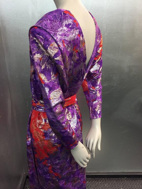 1980s Yves Saint Laurent Purple, Red and Gold Floral Brocade Gown 6