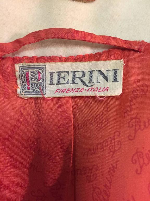 1960s Pierini Cream Italian Wool Coat in a Fabulous Orange Daisy Print 5