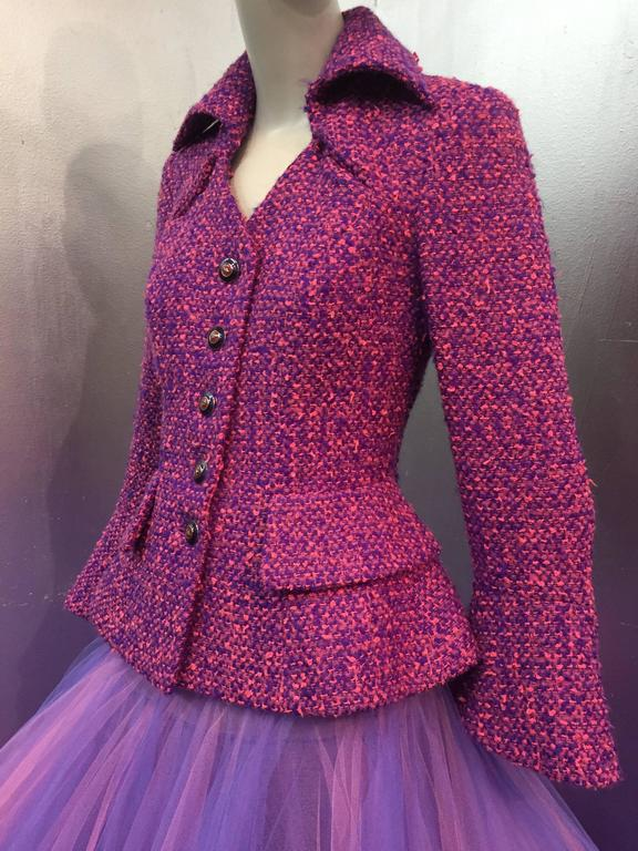 1990 JACQUES FATH Wool Tweed Jacket and Tulle Ball Skirt in Pink and Purple  6