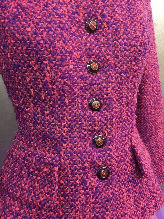 1990 JACQUES FATH Wool Tweed Jacket and Tulle Ball Skirt in Pink and Purple  8