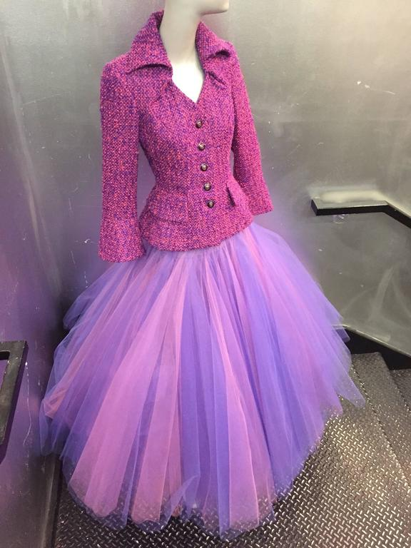 1990 JACQUES FATH Wool Tweed Jacket and Tulle Ball Skirt in Pink and Purple  2
