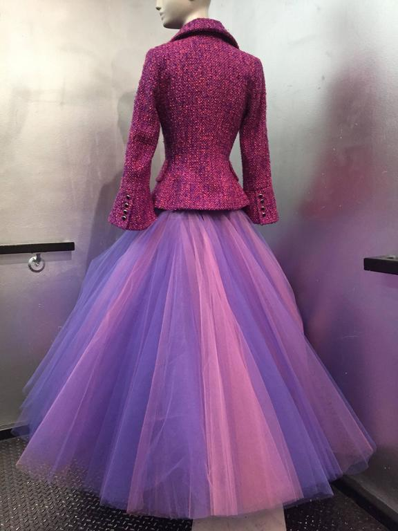 1990 JACQUES FATH Wool Tweed Jacket and Tulle Ball Skirt in Pink and Purple  4