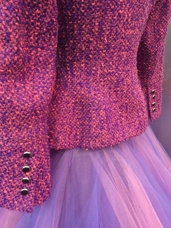 1990 JACQUES FATH Wool Tweed Jacket and Tulle Ball Skirt in Pink and Purple  5