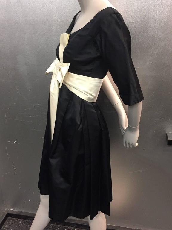 1950s Black Silk Cocktail Dress With Cream Silk Empire Bow