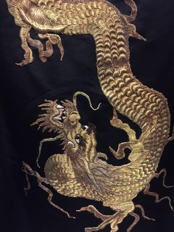 1950s Black Silk Satin Evening Coat w Stunning Antique Gold Chinese Dragon For Sale 4