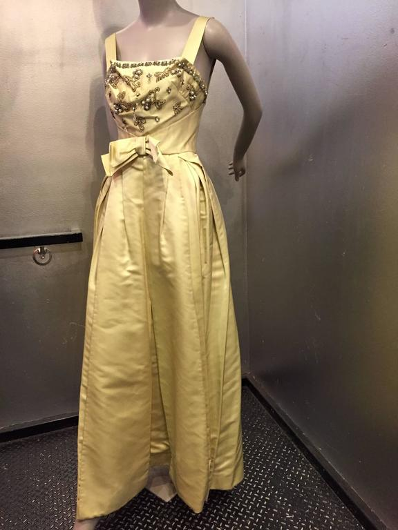 Incredible 1950s Elizabeth Arden Celadon Satin Gown w Beaded Bodice In Excellent Condition For Sale In San Francisco, CA