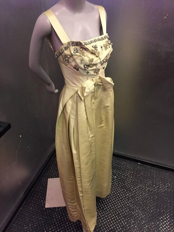 Brown Incredible 1950s Elizabeth Arden Celadon Satin Gown w Beaded Bodice For Sale