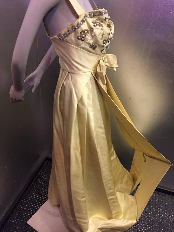 Incredible 1950s Elizabeth Arden Celadon Satin Gown w Beaded Bodice For Sale 1