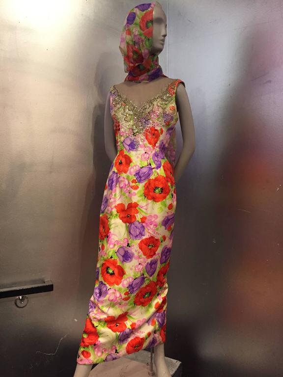 Incredible 1960s Mr. Blackwell Poppy Print Silk Gown w Jeweled Neck & Foulard 4