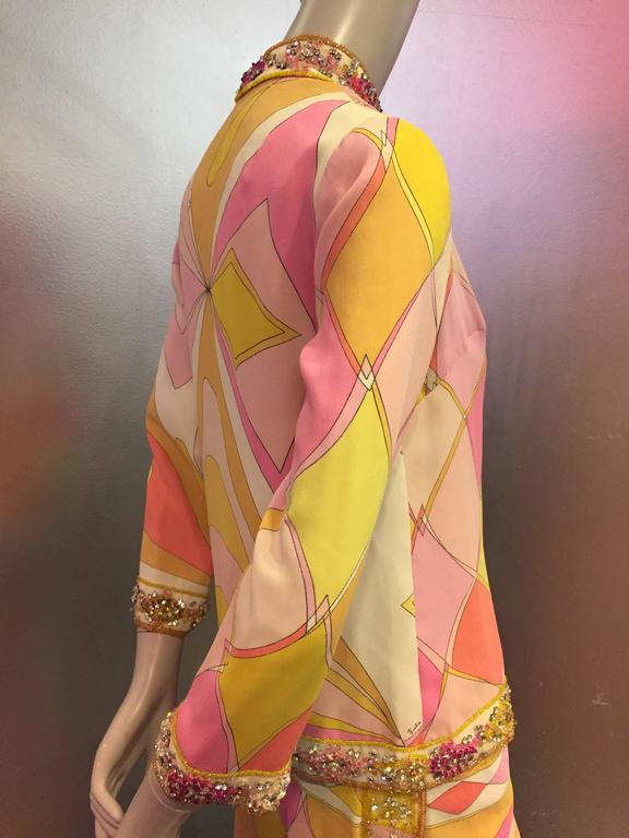 1960s Emilio Pucci Harlequin Print Evening Skirt and Cardigan w Jeweled Trim 4