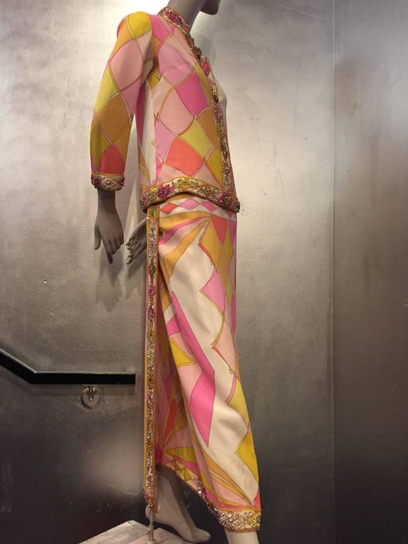 1960s Emilio Pucci Harlequin Print Evening Skirt and Cardigan w Jeweled Trim 5
