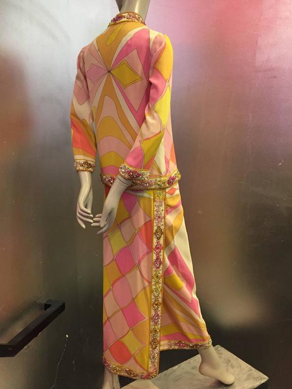 1960s Emilio Pucci Harlequin Print Evening Skirt and Cardigan w Jeweled Trim 3