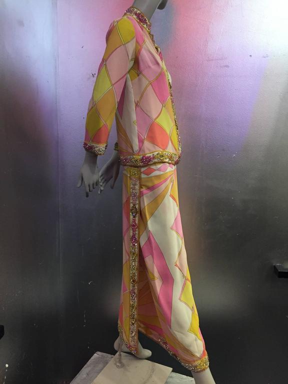 1960s Emilio Pucci Harlequin Print Evening Skirt and Cardigan w Jeweled Trim 2