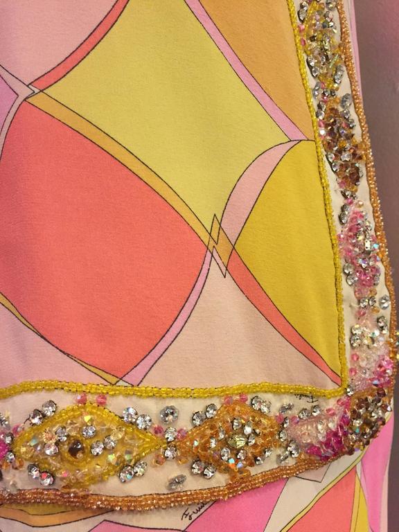 1960s Emilio Pucci Harlequin Print Evening Skirt and Cardigan w Jeweled Trim 6