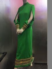 1960s Jean-Louis Kelly-Green Wool Knit Gown w Jeweled Cuffs and Hem
