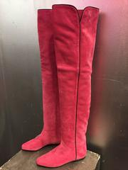 1980s Yves Saint Laurent Over-The-Knee Pink Suede Flat Boots w Black Piping