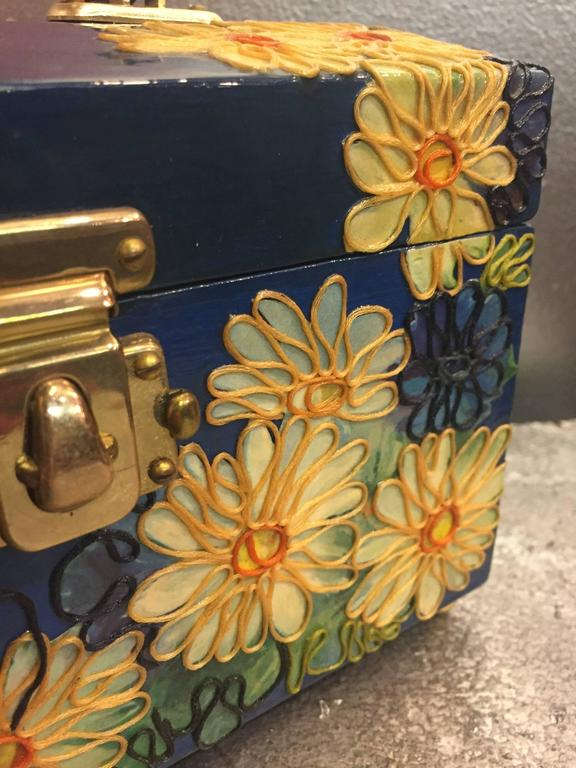 1960s Wooden Box Purse w Painted and Applied Flowers & Butterflies  For Sale 4