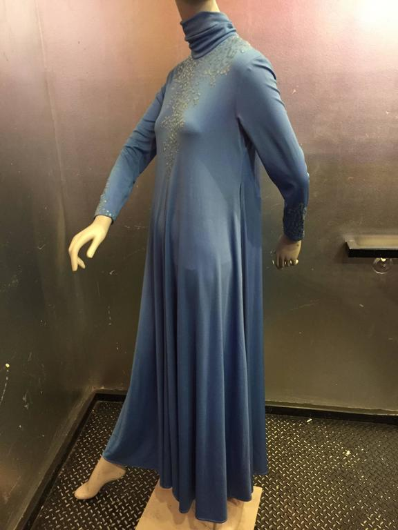 1970s Liquid Blue Jersey Maxi Dress w Sequined Bodice and High Neck 4