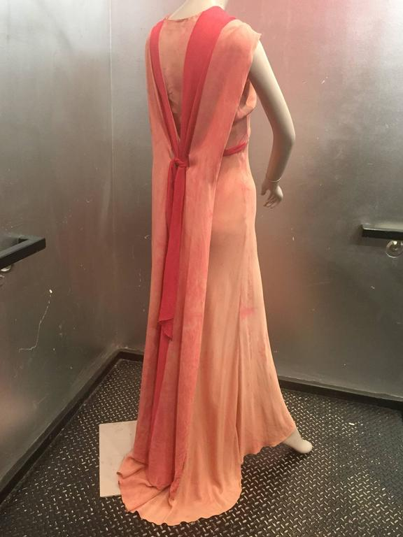 1930's Bias Cut Two-Tone Pink Tie Dye Gown  In Good Condition For Sale In San Francisco, CA