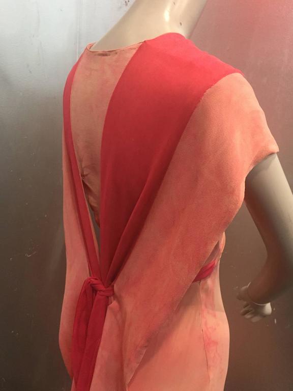 Women's 1930's Bias Cut Two-Tone Pink Tie Dye Gown  For Sale