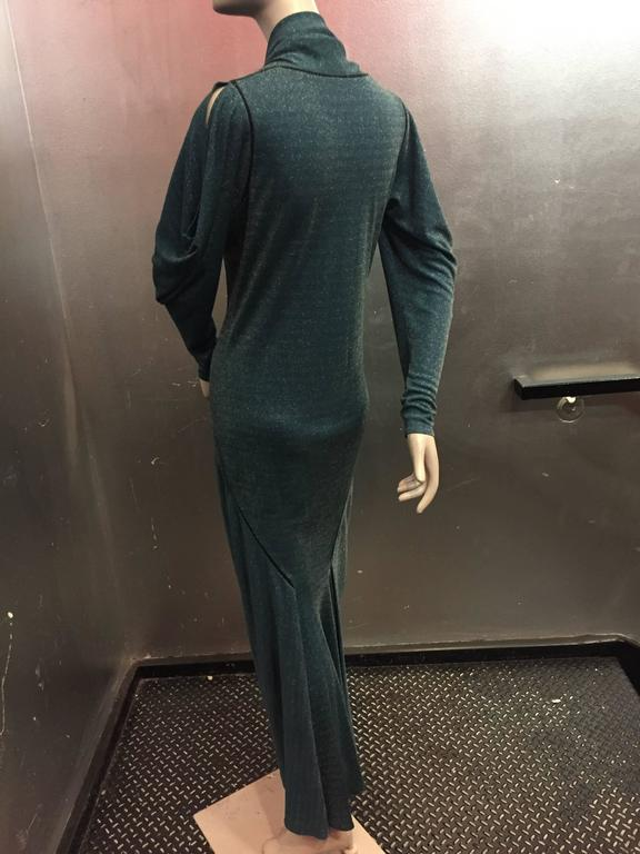 1980s Janice Wainwright Teal Lurex Jersey Gown w 1930s Inspired Bias Detailing 3