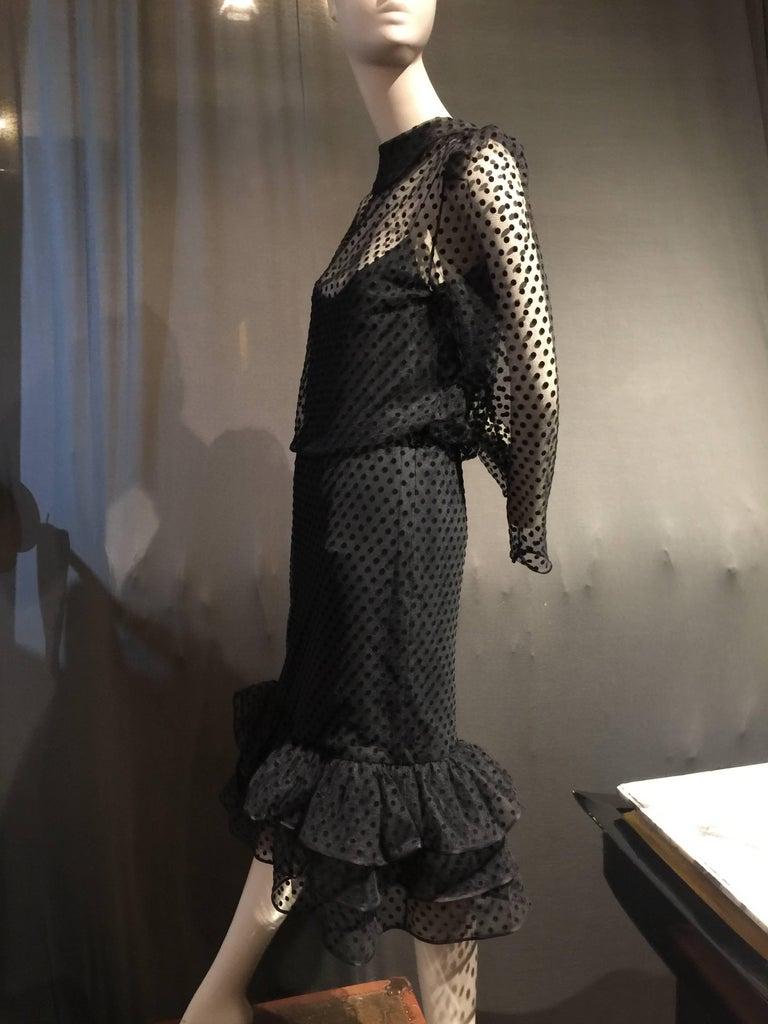 1980s Christian Dior Pointe D Esprit Tulle Cocktail Dress