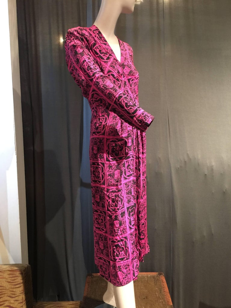 Pink 1940s Adrian Magenta and Black Print Dress w Front Slit Diamond Inset and Gather For Sale